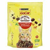 4 x Go-cat Crunchy & Tender Adult Cat Food With Beef Chicken & Vegetables 900g