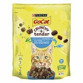 4 x Go-cat Crunchy & Tender Adult Cat Food With Salmon Tuna & Vegetables 900g