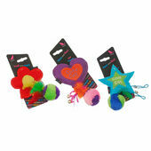 Hem & Boo Star, Flower & Heart Feather Teaser Plush Cat Toy