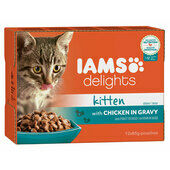 12 x 85g Iams Delights Chicken In Gravy Wet Kitten Food