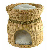 Vital Pet Products Two Tier Cat Wicker Pet Bed With Cushions - 40 x 44cm