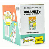 8 x 55g Dreamies Cat Treats With Chicken Plus Vitamins & Omega3 - Bulk Pack