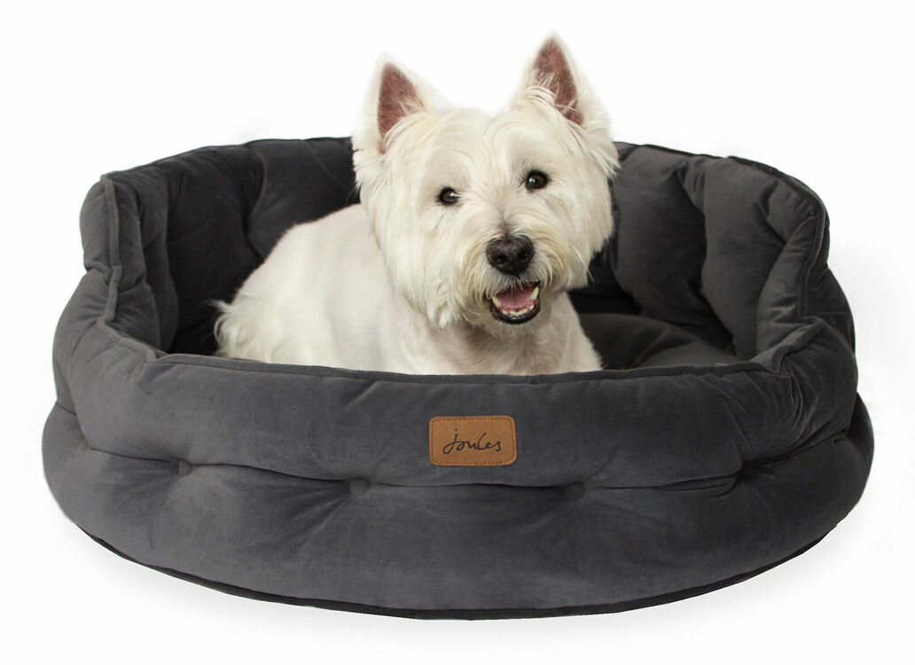 Joules Velvet Chesterfield Dog Cat Bed Grey From 40 00