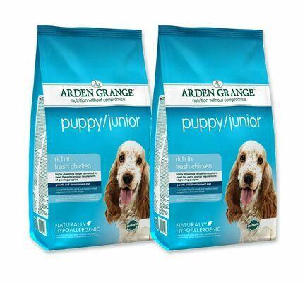 2 x 12kg Arden Grange Puppy/Junior Chicken & Rice Dog Food
