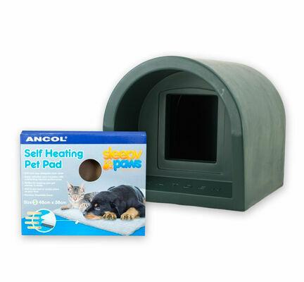Mr Snugs Katden Cat Kennel & Self Heating Pet Pad - Dark Green