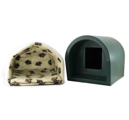 Mr Snugs Katden Dark Green Cat Kennel With Mattress & Liner