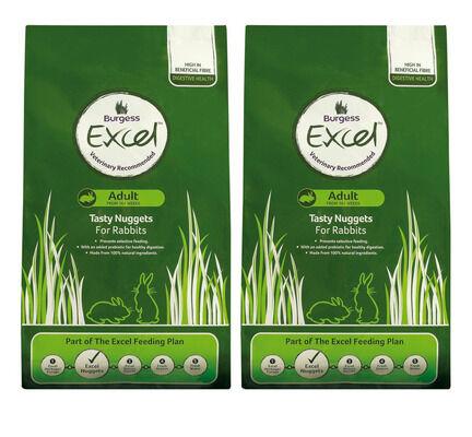 Excel Multi-Buy Adult Tasty Nugget Rabbit Food - 2 x 10kg