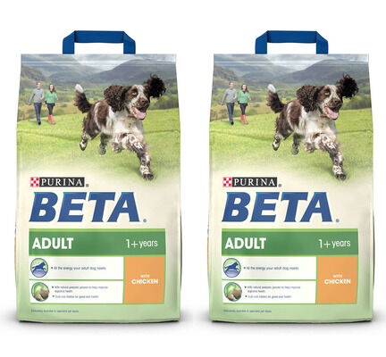 2 x 14kg Purina Beta Adult Chicken Dry Dog Food Multibuy