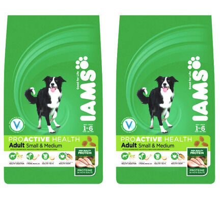 Iams ProActive Health Small & Medium Breed Chicken Adult Dog Food - 2 x 12kg