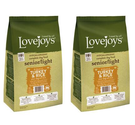 2 x 12kg Lovejoys Hypoallergenic Senior/Light Turkey & Rice Dry Dog Food Multibuy