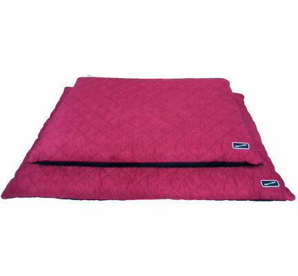 Hem & Boo Waterproof Quilted Flat Dog Bed - Black & Raspberry Crush