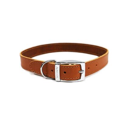 Ancol Classic Leather Sewn/Half Lined Collar Tan