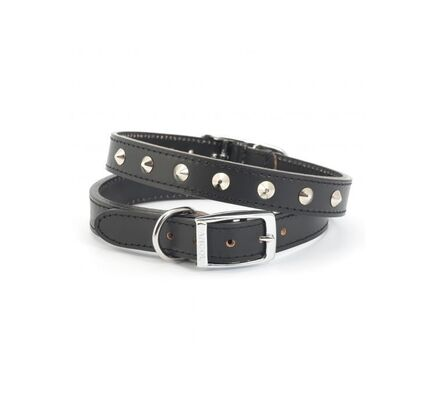 Ancol Heritage Leather Studded Collar Black