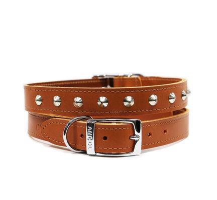 Ancol Heritage Leather Studded Collar Tan