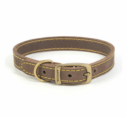Ancol Timberwolf Leather Collar Sable