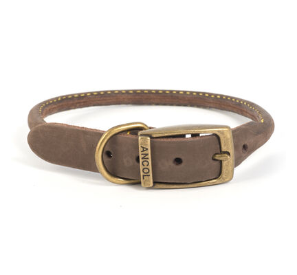 Ancol Timberwolf Leather Round Collar Sable