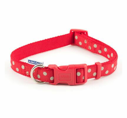 Ancol Nylon Adjustable Collar Vintage Red Polka Dot