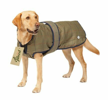 Danish Design Padded Showerproof Brown Tweed Dog Coat
