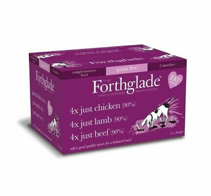 12 x 395 Forthglade Complete Adult Variety Pack - Chicken, Lamb & Beef