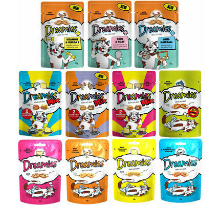 8 x Dreamies Kitten & Adult Cat Treats Mixed Flavour Food Bulk Pack