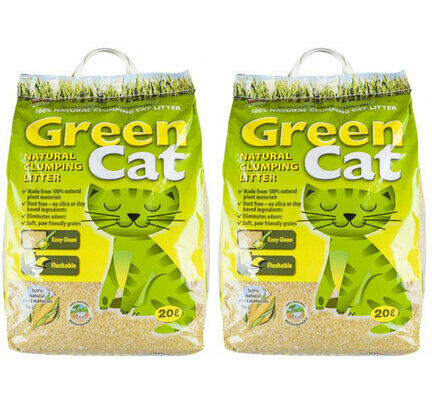 2 x 20L Green Cat Natural Clumping Cat Litter Multibuy