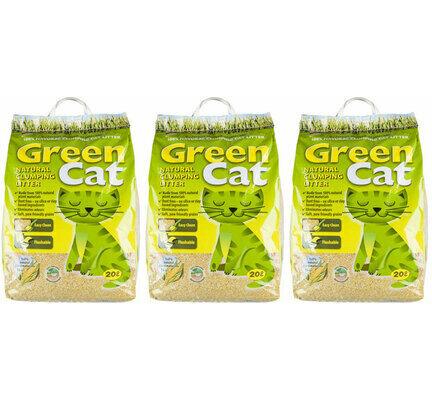 3 x 20L Green Cat Natural Clumping Cat Litter Multibuy