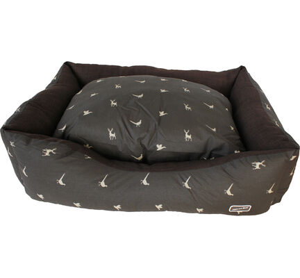 Hem & Boo Brown & Sand Country Print Rectangle Dog Bed