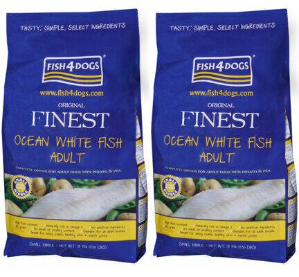 2 x 6kg Fish4dogs Finest Ocean White Fish Small Bite Adult Dog Food Multibuy
