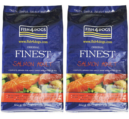 2 x 12kg Fish4Dogs Original Finest Salmon Regular Bite Adult Dog Food Multibuy