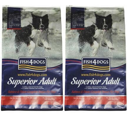 2 x 12kg Fish4Dogs Superior Complete Salmon Regular Bite Adult Dog Food Multibuy