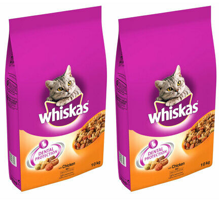 2 x 10kg Whiskas Dental Protection Complete Chicken Dry Cat Food Multibuy