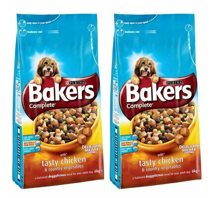 2 x 14kg Bakers Complete Chicken & Country Veg Adult Dog Food Multibuy