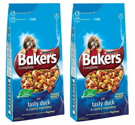 2 x 14kg Bakers Complete Duck & Veg Adult Dry Dog Food Multibuy