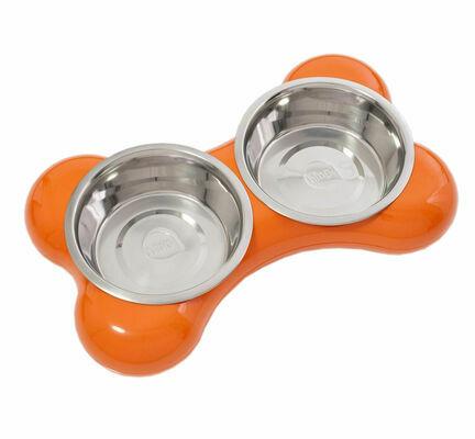 Hing Designs The Bone Large Stainless Steel Dual Dog Bowls - Orange