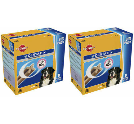 2 x 56 Pedigree Dentastix Daily Large Breed Dog Treats Multibuy - 112 Sticks