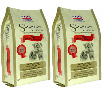 2 x 12kg Simpsons Premium Adult Chicken & Brown Rice Dog Food Multibuy