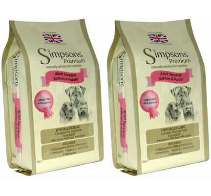 2 x 12kg Simpsons Premium Adult Sensitive Salmon & Potato Dry Dog Food Multibuy