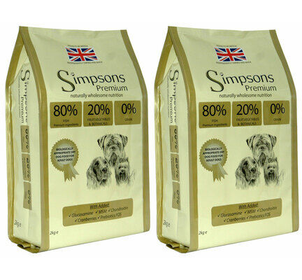 2 x 12kg Simpsons Premium 80/20 Mixed Fish Dry Dog Food Multibuy