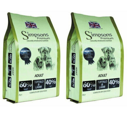 2 x 10kg Simpsons Premium Adult 60/40 Buffalo & Lamb Dry Dog Food