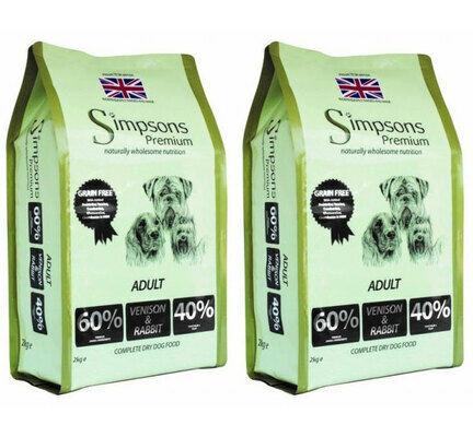 2 x 10kg Simpsons Premium Adult 60/40 Venison & Rabbit Dry Dog Food Multibuy