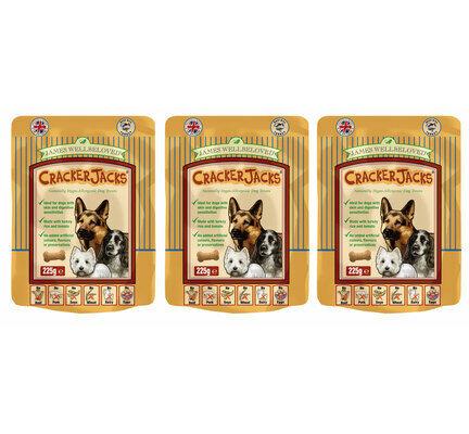 3 x 225g James Wellbeloved Crackerjacks Turkey, Rice & Tomato Dog Treats Multibuy