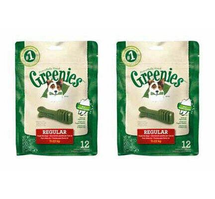 2 x 340g Greenies Original Regular Dog Dental Chews