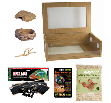 """The Pet Express Corn Snake Starter Kit - Oak Vivarium (24"""")"""