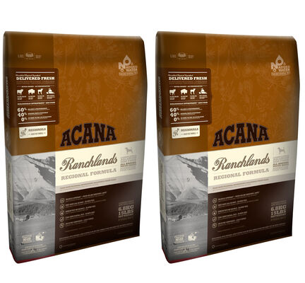 2 x 11.4kg Acana Regionals Ranchlands Dry Dog Food Multibuy