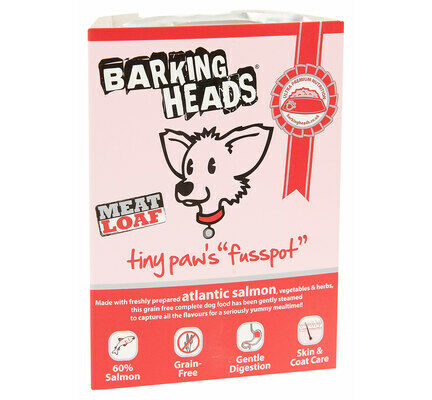 28 x 150g Barking Heads Tiny Paws Fusspot Salmon Small Breed Wet Adult Dog Food