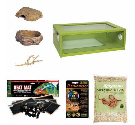 The Pet Express Corn Snake Starter Kit - Medium Vivarium Green (24