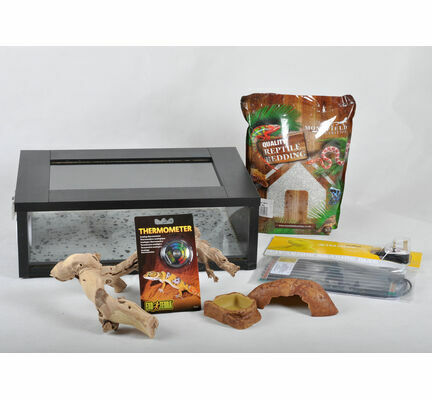 The Pet Express Small Leopard Gecko Starter Kit - Black Vivarium (18