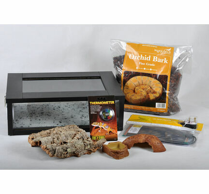 Small Royal Python/Ball Python Starter Kit Monkfield Vivarium Black (18 Inch)