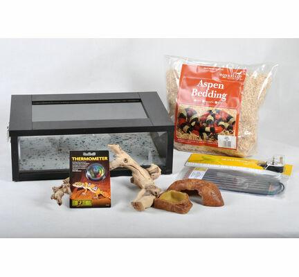 The Pet Express Corn Snake Starter Kit- Black Small Vivarium (18\