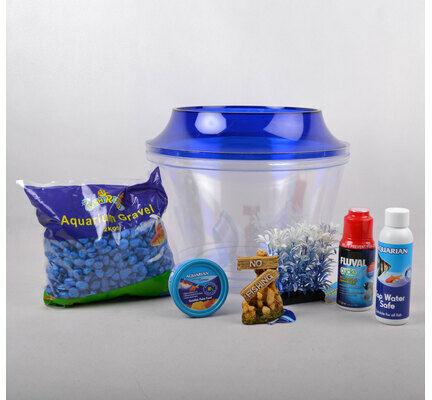The Pet Express Cold Water Fish Bowl Goldfish Starter Kit - Blue